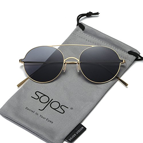 SojoS Small Round Sunglasses Thin Lightweight Metal Frame Mirrored Lens SJ1068 With Gold Frame/Grey - Mirrored Sunglasses Cute