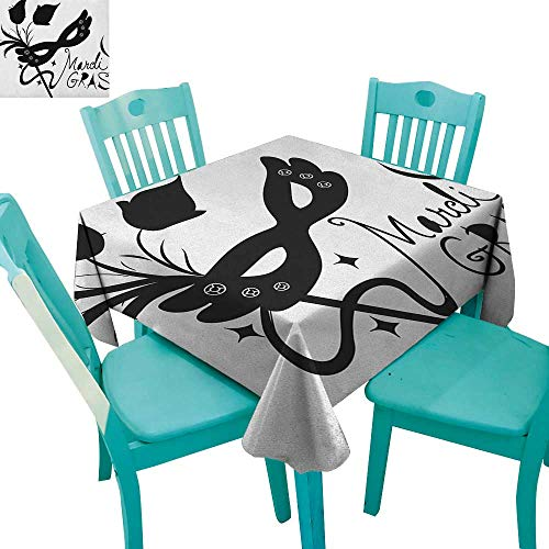 longbuyer Mardi Gras,Washable Tablecloth,Classical Mask with Flowers Feathers Stylized Calligraphy Star Silhouettes,70
