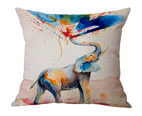 For/_beauty Linen Cute elephant printing Cotton Decorative Throw Pillow Case Cushion Cover 18 x 18