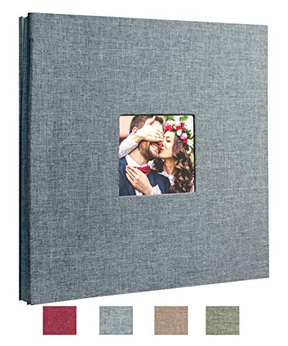 Beautyus Self Adhesive Stick Photo Album Magnetic Scrapbook DIY Anniversary Memory Book for Baby Wedding Family Albums Holds 3x5, 4x6, 5x7, 6x8, 8x10 Photos (Gray, M)