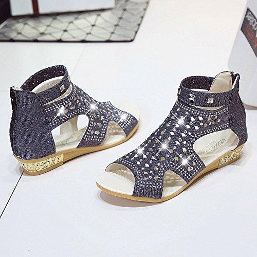 Summer Women Hollow Wedge Ladies Shoes Spring Mouth Roma Sonnena Fish Fashion Black Sandals 5qwtOnzSxp