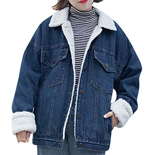 Women Retro Button Lapel Solid Bomber Jacket Casual Plush Thicken Pocket Denim Coat(S,Navy)