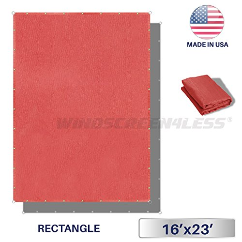 Windscreen4less Straight Edge Sun Shade Sail,Rectangle Outdoor Shade Cloth Pergola Cover UV Block Fabric 180GSM – Custom Size Red 16 X 23