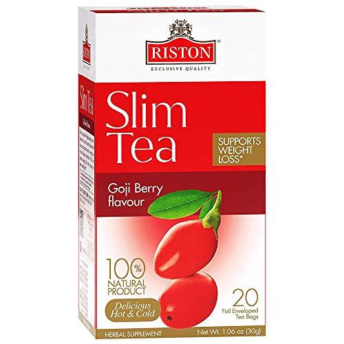 Riston Slim Tea Goji Berry Slim Tea Green Detox Tea 100% Natural Herbal Promotes Energy and Vitality, Individually Foil Wrapped Herbal Tea | 20 Tea Sachets/pack (Goji Berry) 1