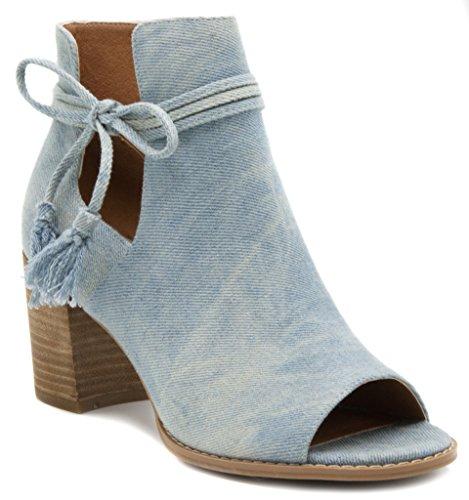 Mari A Women's Alana Tasseled Ankle Boot Peep Toe Bootie 10 Tie Dye Denim