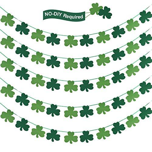 5 Pieces Felt Shamrock Clover Garland Banner St. Patrick's Day Garland Banners for St. Patrick's Day Decorations Spring Decor Irish Party Supplies (Patricks Day Garland)