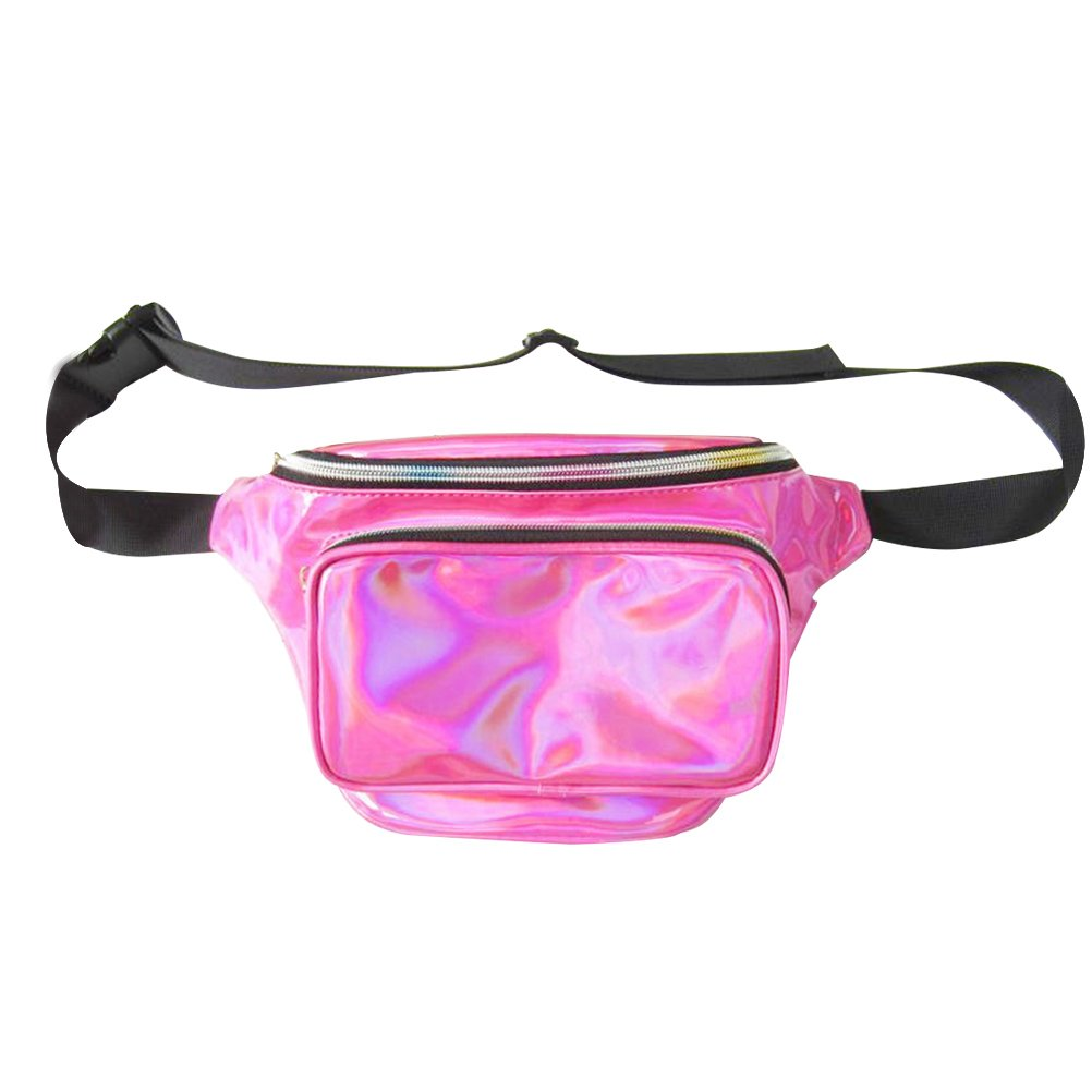 VORCOOLホログラムウエストバッグレディースPVCホログラムFanny Pack Bum Bag Purseウエストバッグ防水ShinyネオンFanny Chest Pack (ローズレッド) B07DS61MP3
