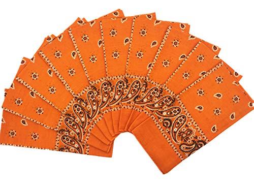 T&Z 100% Cotton 10 Pack Fine Bandanas(Orange)