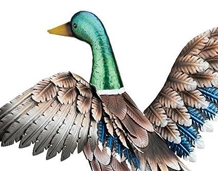 Amazon Com Outdoor Indoor Accent Metal Mallard Duck Flying Figurine