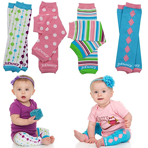 juDanzy 4-pack Organic baby & toddler leg warmers gift set for boys & girls (One Size (12 pounds to 10 years), Organic Whimsy)