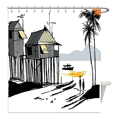 Liguo88 Custom Waterproof Bathroom Shower Curtain Polyester Coastal Decor Sketchy Fishing Village Malay in Singapore with Houses Canoe Palms Sun Black Grey Orange Decorative bathroom
