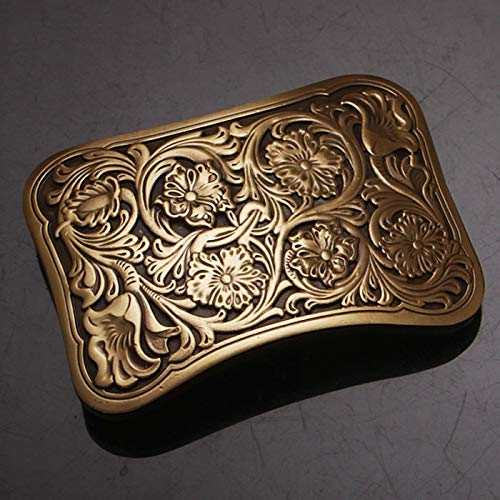 - Wall of Dragon Quality Antique Vintage/Retro Flower Embossed Men's Solid Copper Brass Belt Buckle