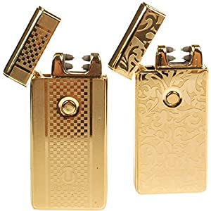 USB Lighters 2 Pack - Dual Arc Electronic Lighter Electric Plasma Lighter - Tesla Coil Rechargeable Cigarette Lighter 5 Designs (Gold + Gold)