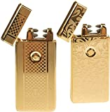 USB Lighters 2 Pack - Dual Arc Electronic Lighter Electric Plasma Lighter - Tesla Coil Rechargeable Cigarette Lighter 5 Designs (Gold + Gold)