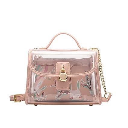 8e8ec1117e6c Amazon.com: Kommschonff Women Transparent Handbag Messenger Bags ...