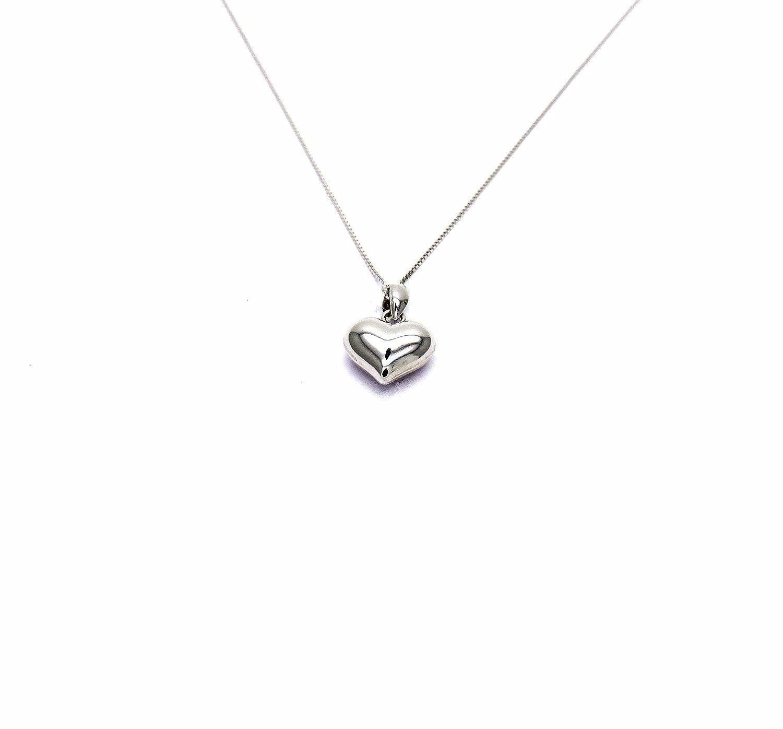ea2af524ee32 Pegaso Joyería - Collar oro blanco 18 kt Veneta pequeño colgante corazón  pulido - Cadena Corazón Mujer Niña Niña cm 40 45  Amazon.es  Joyería