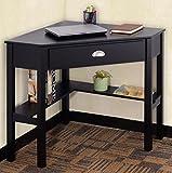 K&A Company Writing Computer Desk Table Student Storage Shelves Kids Room New Furniture Dorm Laptop Wood Corner Drawer Office Shelf Work Unit Corner Black