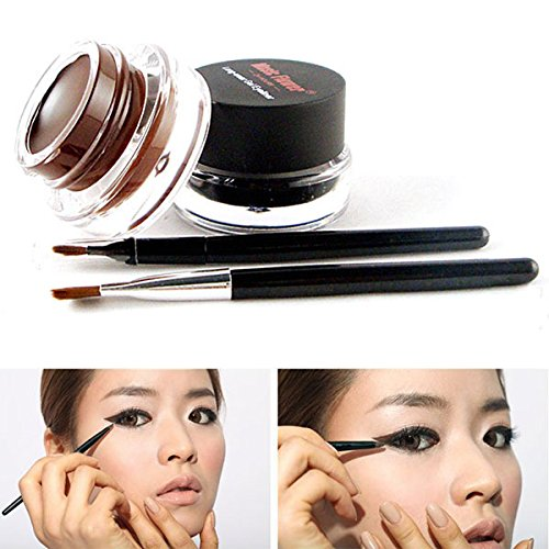 2 PCS Black Brown Cosmetic + Brush Waterproof Eye Liner Gel Eyeliner Makeup Sets (Clown Makeup Styles)
