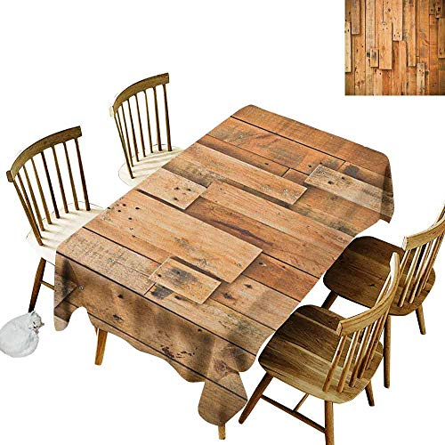(DONEECKL Wooden Waterproof Tablecloth Polyester Tablecloth Lodge Style Teak Hardwood Wall Planks Image Print Farmhouse Vintage Grunge Design Artsy Brown W52 xL70)