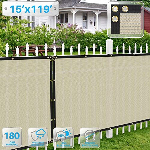 Patio Fence Privacy Screen 15 x 119 , Pergola Shade Cover Canopy Sun Block, Heavy Duty Fence Privacy Netting, Commercial Grade Privacy Fencing, 180 GSM, 90 Privacy Blockage Beige