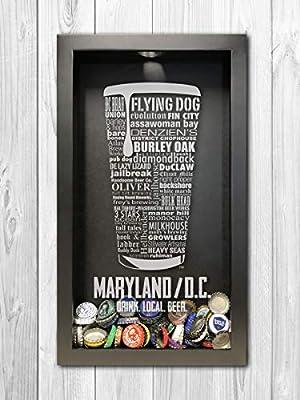 Maryland/DC Craft Beer Typography Bottle Cap Shadow Box, Beer Cap Holder