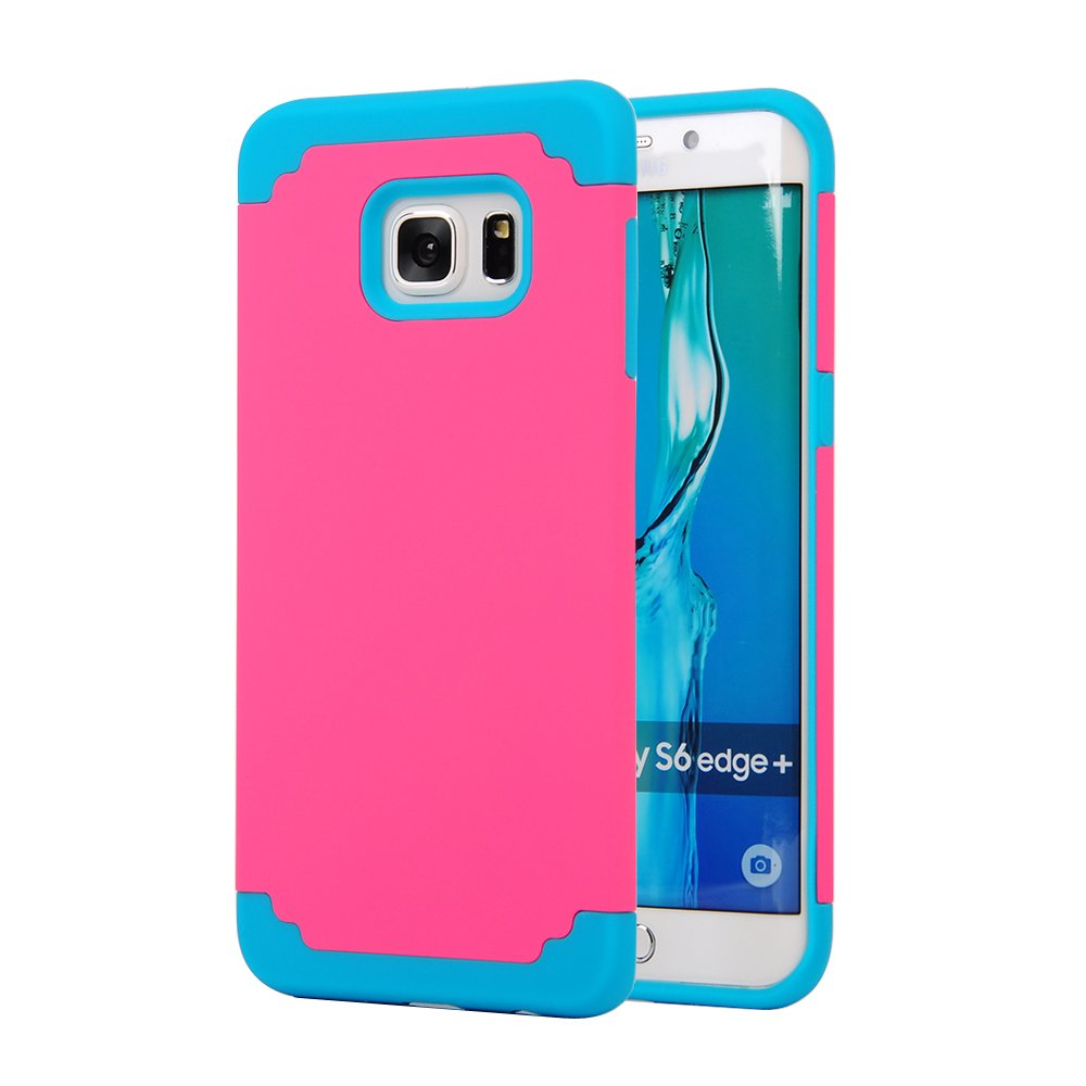 Galaxy S6 Edge Plus Case, SAVYOU 2 In 1Dual Layer Hybrid Gel Shock Absorbing Case Armor Defender Case for Samsung Galaxy S6 Edge Plus(Hot Pink Blue)