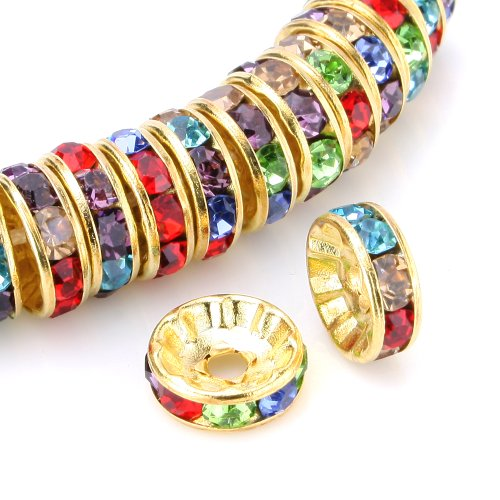 Leegoal 100 Pcs Swarovski Crystal Rondelle Spacer Bead Gold Plated 8mm Multicolor