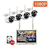 isotect All-in-One Surveillance System Wireless Security Camera System Indoor Outdoor 1080p 8CH Video Security System with 2TB HDD,4pcs 1080p Bullet IP Cameras with Built-in 12.5-inch Monitor