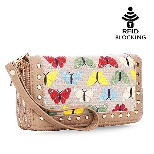 Checkbook Zip Double Clutch - K A Butterfly Double Zip-Around Wallets Clutch Checkbook Long Purse Strap