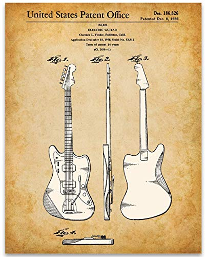 (Fender 1951 Jazz Master Guitar Poster US Patent - 11x14 Unframed Patent Art Print - Great Gift Under $15 for Guitar Players)