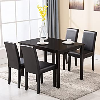 Amazon.com - 4 Family 5 Piece Dining Table Set 4 Chairs Wood Kitchen ...