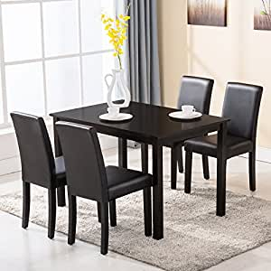 amazon dining room furniture | Amazon.com - Mecor 5 Piece Dining Table Set 4 Chairs Wood ...
