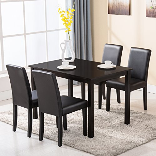 Mecor 5 Piece Dining Table Set 4 Chairs Wood Kitchen Dinette Room Breakfast Furniture Black (Breakfast Furniture)