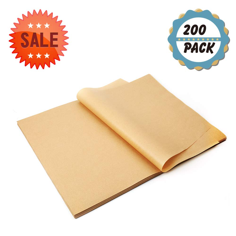 Parchment Paper Baking Sheets Kasmoire 200pack 12x16'' Non-Stick Unbleached Precut Brown Parchment Paper Liners- No Curl,No Tear,No Burn for Cook,Grill,Steam,Pans,Air Fryers,Hamburger Patty Paper by Kasmoire