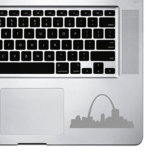 StickAny Palm Series St. Louis Skyline Arch Sticker for Macbook Pro, Chromebook, and Laptops (Silver)
