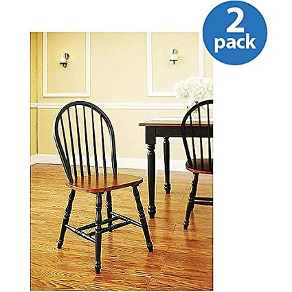 BETTER HOMES AND GARDENS WINDSOR KITCHEN CHAIRS SET OF 2 AUTUMN LANE BLACK  U0026 OAK