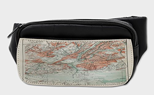 Price comparison product image Lunarable NYC Bumbag, 19th Century Map of Big Apple, Fanny Pack Hip Waist Bag