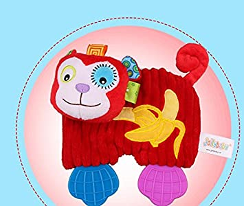 Sun Glower Toalla de Mano Suave Corta Felpa Mono Juguete consolador Juguetes Toalla de Algodón _Rojo