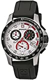 Wenger 'Battalion Field' Gents Chronograph Silver/Red Black Rubber Strap Watch