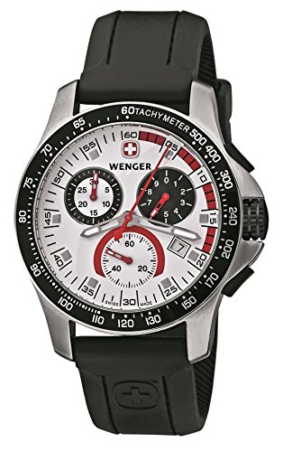 Wenger Men's 70791 Battalion Chrono Silver Dial Black Leather Watch