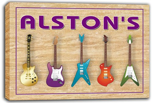 scqp1-1883 ALSTON'S Guitar Weapon Band Music Room Stretched Canvas Print Sign