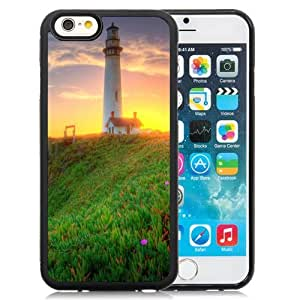 NEW Unique Custom Designed iPhone 6 4.7 Inch TPU Phone Case With Lighthouse Green Coast Sunrise_Black Phone Case