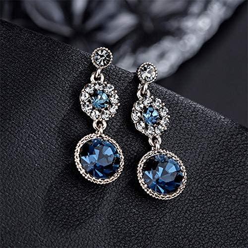 KHOBGLU Elegancia De Mujer Dama Joyas De Plata Pendientes De Piedras Preciosas Delicadas Gotas De Oreja De Carácter Individual Vintage