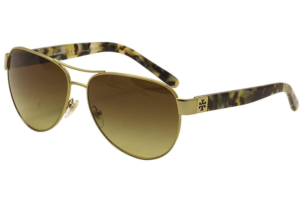 23082eda2e4e Amazon.com: Tory Burch Women's 0TY6051 Gold/Blue Flash Polarized Mirror One  Size: Clothing