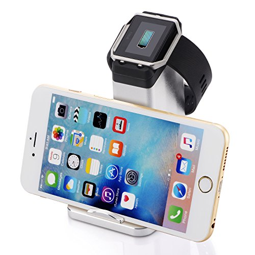 Fitbit Blaze Wireless Charger piqiu Charging Base Bracket Charging Clip Aluminum Alloy Replacement Bracket Charger Cable for Fitbit Blaze Smart Watch Charger Bracket Accessories - Silver