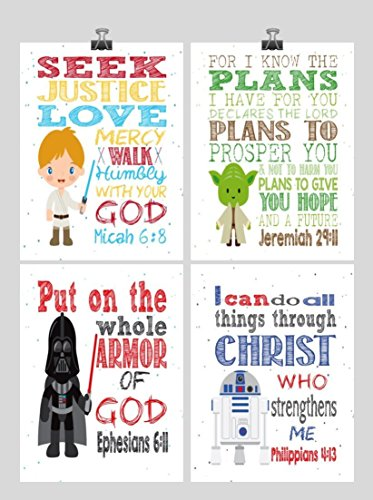 Star Wars Set of 4 - Christian Nursery Decor Wall Art Print - Luke Skywalker, Yoda, Darth Vader, R2D2 - Bible Verse - Multiple Sizes