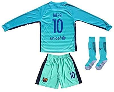 2016/2017 Barcelona #10 Messi Kids Third Long Sleeve Soccer Jersey & Shorts Youth Sizes