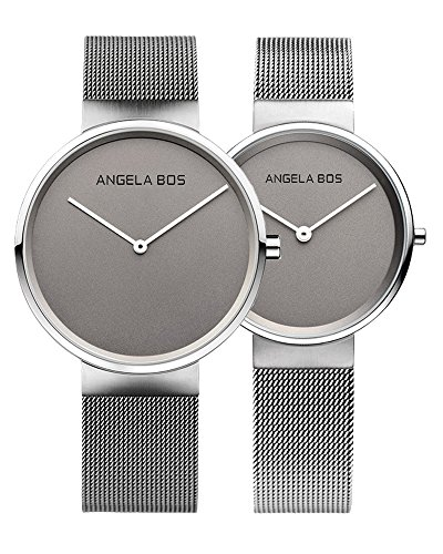 BOS Couple Watches Ultra Thin Simple Dial Quartz With Mes...