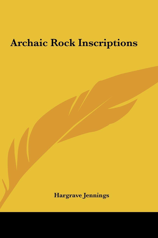 Download Archaic Rock Inscriptions pdf