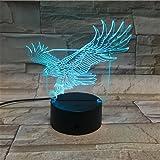 LE3D 3D Optical Illusion Desk Lamp/3D Optical Illusion Night Light, 7 Color LED 3D Lamp, Eagle 3D LED For Kids and Adults, Flying Eagle Light Up
